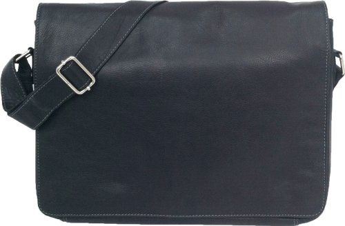 Unicorn Real Leather Black 16.4'' laptop bag Messenger #1L by Unicorn London
