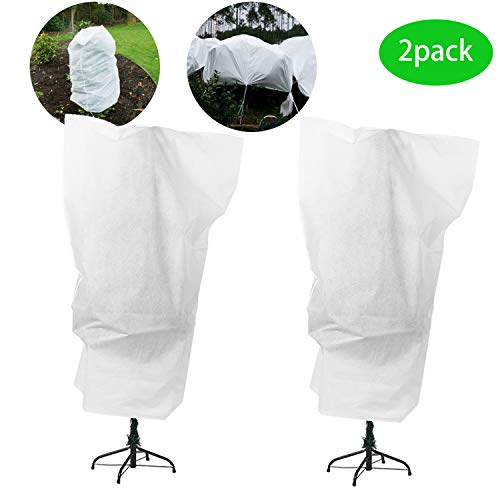Alpurple 2 Packs Large Size Winter Drawstring Plant Covers- 3.2 x 5.2 Feet Warm Plant Protection Cover Bags, Frost Cloth Blanket Protecting Fruit Tree Potted Plants from Freezing Animals Eating