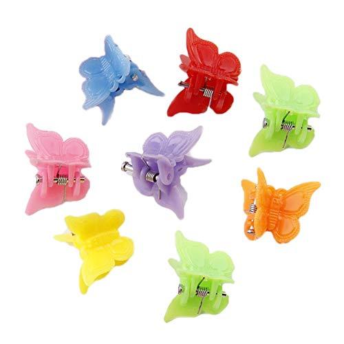 Glitter Plastic Butterfly - HugeDE 50 Pcs Baby Mini Plastic Butterfly Hair Clips Hair Claw Hair Clamps Barrettes for Girls