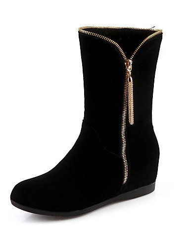 Punta Cn39 Vellón Xzz La us8 us6 Redonda Cuña A Eu36 Uk6 Mujer Vestido De Black Cuñas Negro Moda Uk4 Tacón Casual Eu39 Black Cn36 Zapatos Botas v6wrR6xqTY