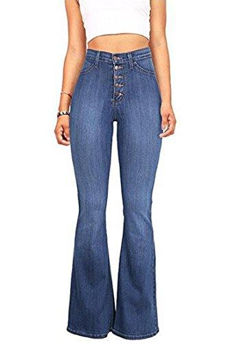 Women's Juniors Trendy High Waist Slim Denim Flare Jeans Bell Bottom Pants Blue, S