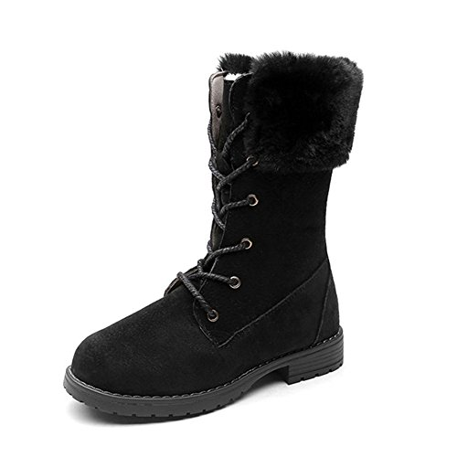 Girls Winter Warm Suede Furry Mid Snow Boots Non Slip Low Heels Lace up Velvet Martin Boot(Kid Toddler) Furry Lace Up Boot