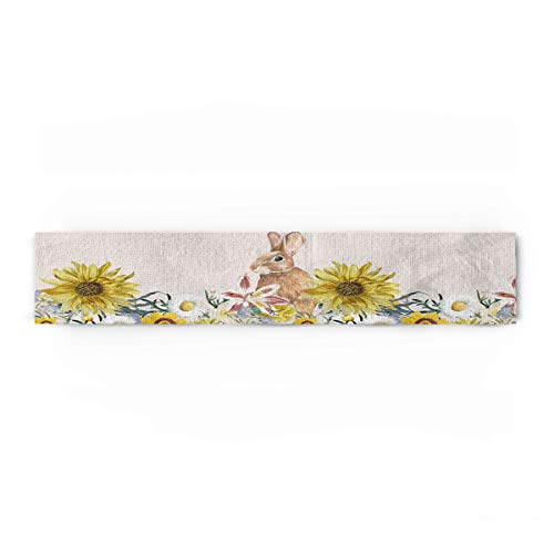 Rabbit Easter Cotton Linen Table Runners Sunflowers Pattern,Watercolour Artwork Tablecovers for Kitchen Garden Wedding Parties Dinner Indoor Outdoors Home Decorations (13