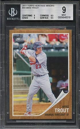 Amazoncom 2011 Topps Heritage Minors 44 Mike Trout Angels Rookie