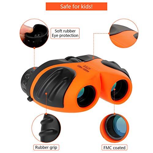 Binoculars for Kids, Outdoor Toys 4-8 Year Old Boys, Compact Kids Orange