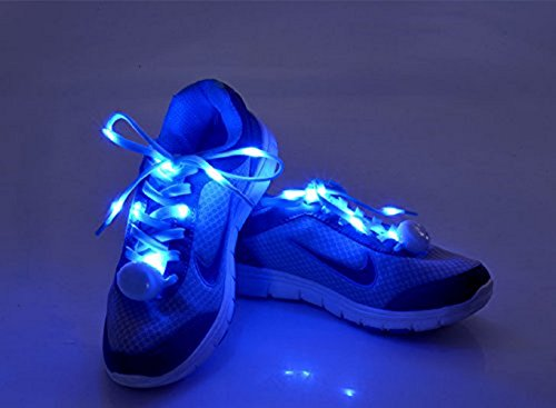 Flammi LED Nylon Shoelaces Light Up Shoe Laces with 3 Modes in 5 Colors Disco Flash Lighting The Night for Party Hip-hop Dancing Cycling Hiking Skating-Type C (Blue)