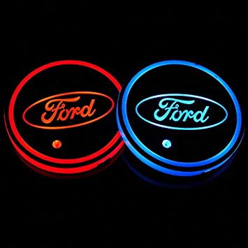 2Pcs LED Auto Cup Car Logo Holder Pad Colorful Changing Mats Coasters For Ford