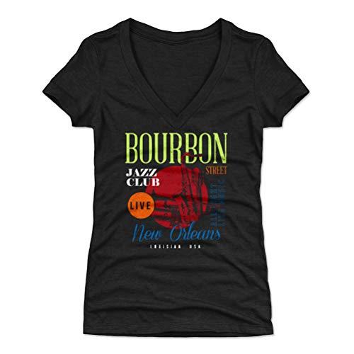 500 LEVEL New England Women's V-Neck Shirt - Medium Tri Black - New Orleans Louisiana Bourbon Street Jazz WHT ()