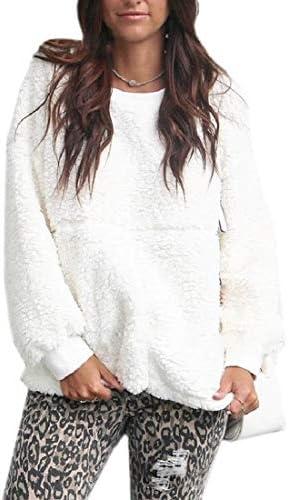女性ファジーフリースプルオーバーシェルパコート長袖暖かい冬のブラウス