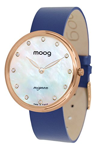 Moog Paris Mignon Women's Watch with White Mother of Pearl Dial, Blue Genuine Leather Strap & Swarovski Elements - ()