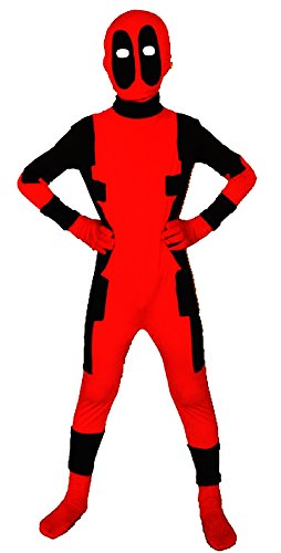 Riekinc Unisex Lycra Spandex Zentai Halloween Kids Cosplay Costumes, Red, (Deadpool Cosplay Buy)