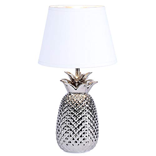 CO-Z Modern Table Lamp with Ceramic Pineapple Base in Brushed Nickel Finish, 16'' Accent Lamp Bedside Lamp with White Fabric Shade, Decorative Desk Lamp for Living Room, Bedroom, UL certificated.