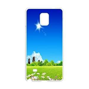 {Funny Series} Samsung Galaxy Note 4 Case Meadow Skyscapes, Unique Case Okaycosama - White