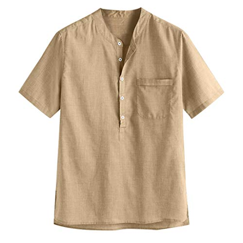 VEZAD Men's Regular-Fit Short-Sleeve Solid Linen Cotton Shirt Casual Button Down Shirt]()