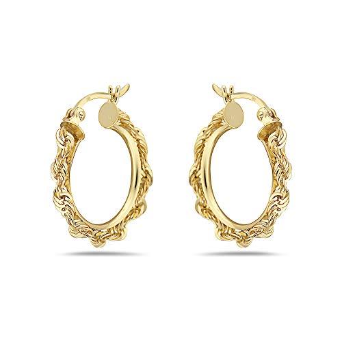 10K Solid Gold Diamond Cut Rope Hoop Earrings- Multiple Sizes Available (2X15) (Earrings 10k Rope)
