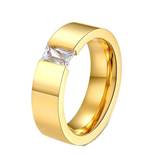 Classic Crystal Wedding Rings for Women Men Austrian Crystal Stone Stainless Steel Black Ring,8,Gold