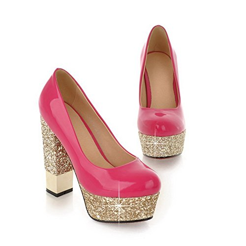 VogueZone009 Womans Closed Round Toe High Heel Chunky Heels Patent Leather Solid Pumps with Platform Peach KFoOWe