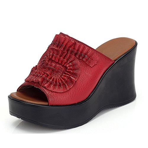 Mode Printemps Compensée Frestepvie Rouge Eté Fille Tongs Mule Faux Eté Sandales Comfortable Plage Cuir Femme aqqwIr57x