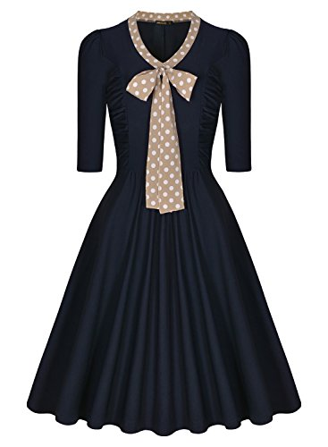 MiusolU+00AE  Women's 3/4 Sleeve Casual Slim Fit and Flare A-line Vintage Dress (Medium, Navy Blue)