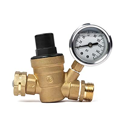 Water Regulator Valve- Lead Free Brass Adjustable RV Pressure Regulator With Pressure Gauge and Water Filter Net by U.S. Solid from U.S. Solid