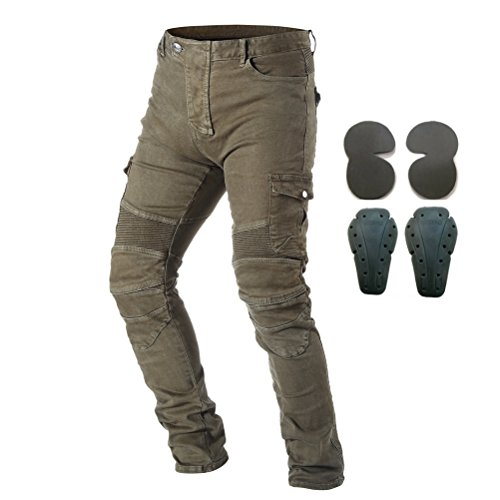 Men Motorcycle Riding Pants Racing Jeans with 4 X Knee Hip Pads Army Green L
