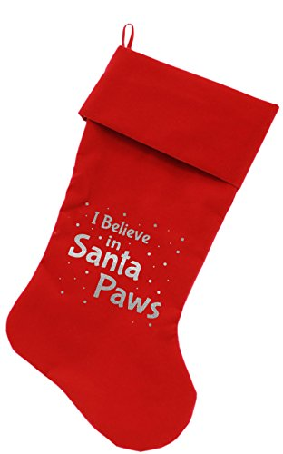 - Mirage Pet Products Santa Paws Screen Print Velvet Christmas Stocking, Size 18, Red
