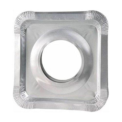 funnytoday365 50個ロットアルミ箔QuadrateストーブバーナーCovers Dispoable正方形プロテクターライナーよだれかけクリーニングキッチンツール B07BK53WD6