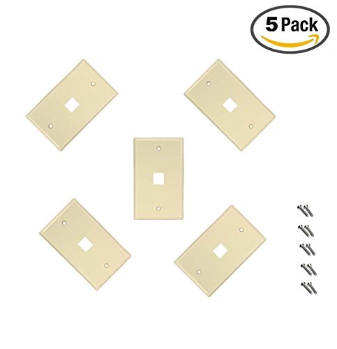 iMBAPrice 1 Port Flush Mount Keystone Jack Wall Plate 1-Gang - Ivory (Pack of 5) (Jack Flush Wall Mount)