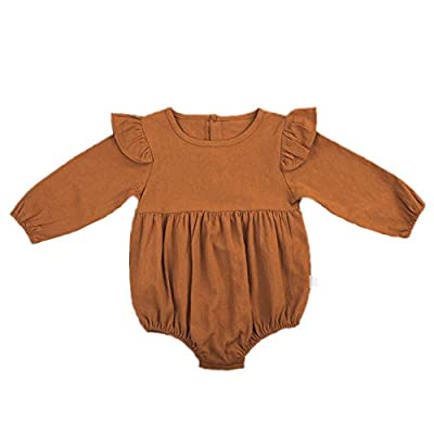 Infant Baby Girl Twins Long Sleeve Ruffles Romper Bodysuit Outfit Clothes