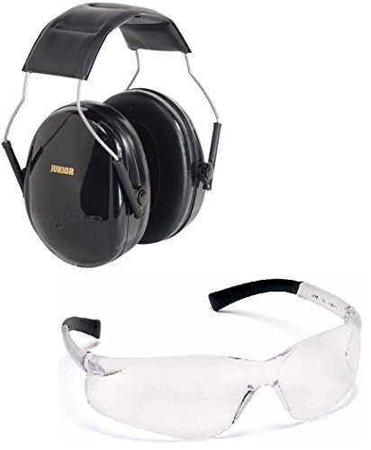 Peltor 97070 Junior Stealth Black Adjustable Folding Earcup Earmuff Ear Muff NRR 22 Youth Children, Small Adult & Women + Ultimate Arms Gear Tactical Shooting Clear Frame Lens Safety Glasses Eye Eyewear Protection Protective - Combo Combination Package Ki by Ultimate Arms Gear