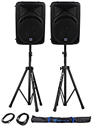 "(2) Rockville RPG10BT 10"" Active/Powered DJ/PA Speakers Built In Bluetooth, USB/SD Player + Rockville RVSS2-XLR Pair of Adjustable Pro Speaker Stands + (2) XLR Male to Female Cables + Carrying Case from ROCKVILLE"