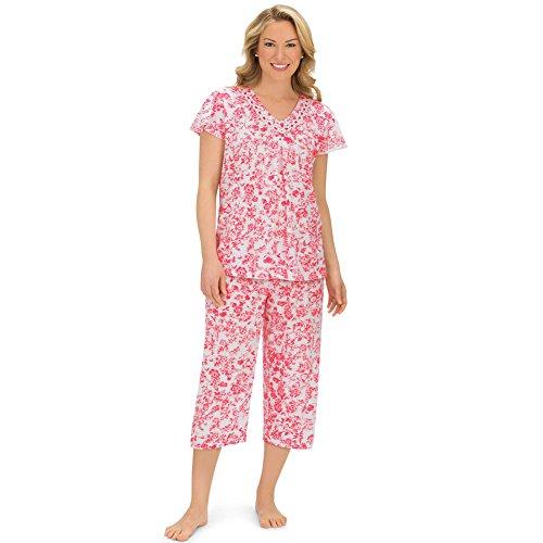 (Women's Short Sleeve Floral Lace Trim Capri Pajamas Set, Pink, Large)