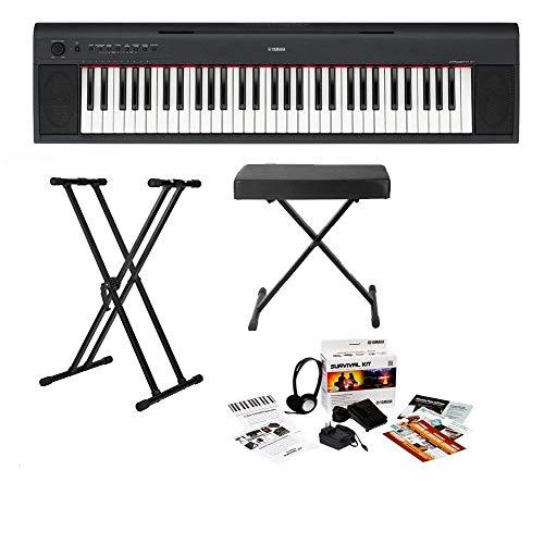 Yamaha NP-12 61-Key Entry-Level Digital Piano Keyboard W/Keyboard Survival Kit & Keyboard Stand & Bench