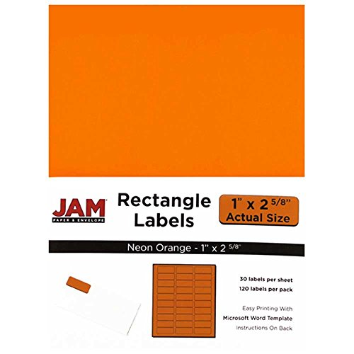 "JAM Paper Mailing Address Labels - Small - 1"" x 2 5/8"" - Neon Fluorescent Orange - 30 Labels per Page/120 Labels Total"