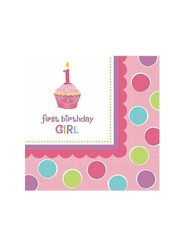 Amscan Sweet Little Cupcake Girl Luncheon Napkins - 36 ct (Little Cupcake Amscan Sweet)