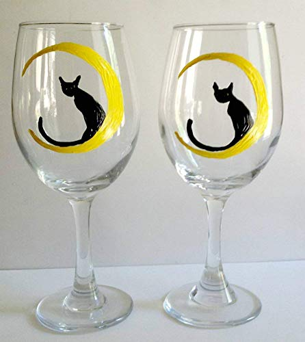 2 Black Cat Moon Hand Painted Wine Glasses Set -