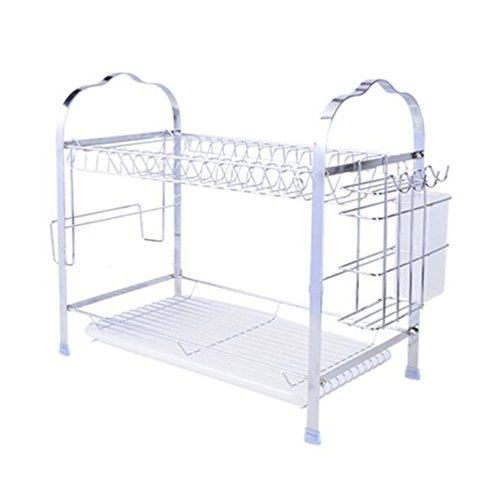 (QIN.J.FANG Draining Rack Double Dish Rack Storage Rack Dripping Put Dishes Child Kitchen Shelf)