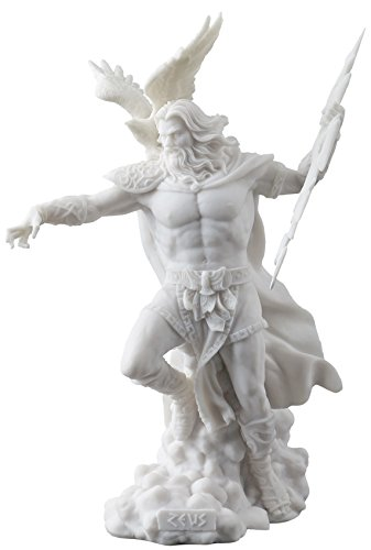 Zeus Greek God Holding Thunderbolt Statue with Eagle (Greek God Sculpture)