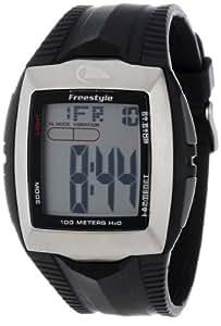 Freestyle Shark BUZZ - Reloj digital de caballero de cuarzo con correa de goma negra (alarma, cuenta vueltas, luz, cronómetro)