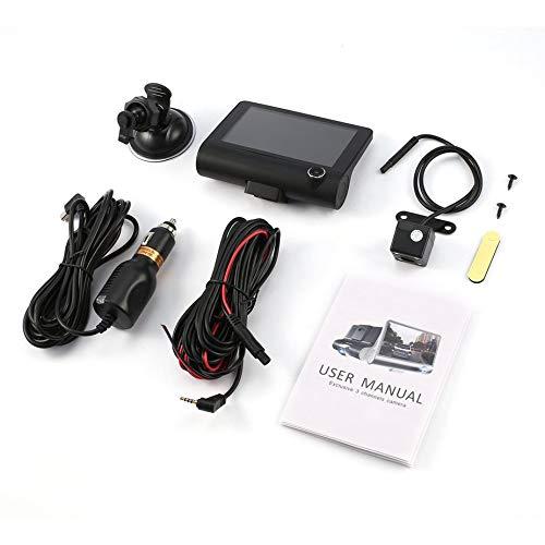 Nowakk 4 Pollici, HD 1080P, 3 obiettivi, DVR per Auto, rilevatore di Movimento e Monitor di parcheggio, Dash Cam, Videoregistratore per Veicoli, con Telecamera Posteriore