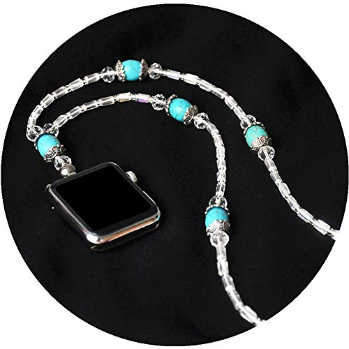 Turquoise Necklace Smartwatch 42mm Series 3 2 1 / 44mm Series 4 New Newest Watch Handmade Fashion Jewelry Replacement Accessories Adaptor Neck Strap Chain White Crystal Wearable Technology
