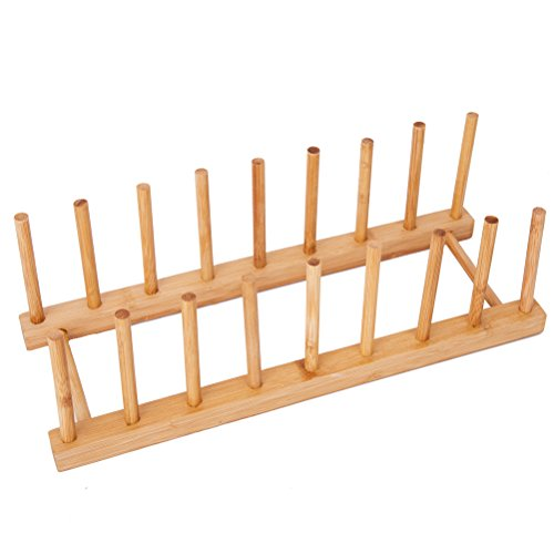 HBlife Bamboo Dish Plate Bowl Cup Book Pot Lid Cutting Board Drying Rack Stand Drainer Storage Holder Organizer Kitchen Cabinet(Keep ()