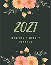 2021 Planner Weekly and Monthly: Simple Watercolor Floral Cover Planner 8.5x11 | Calendar 2021 Weekly and Monthly Pretty Simple Planners for Women | Best Christmas Gifts Under 10 Dollars for Women, Wife, Teens and Friends