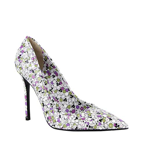 Bottega Veneta Women Green/Purple Floral Woven Leather Heels 430541 8404 (38.5 EU/US 8.5)