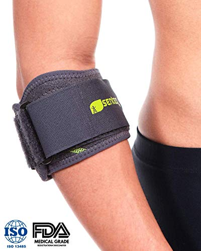 (SENTEQ Elbow Brace Support Strap - Tennis & Golfer's Elbow Strap Band. Relieves Tendonitis and Forearm Pain. Dual Layers Compression with GEL Pad & Wide Adjustable Strap (SQ1 H009))