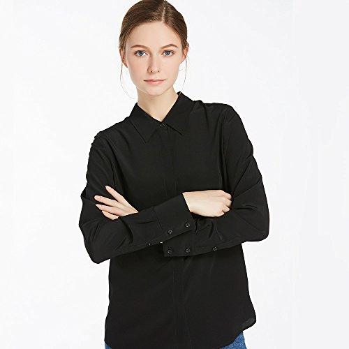 Lilysilk Camisa Básica de Seda para Mujer 18 MM Negro