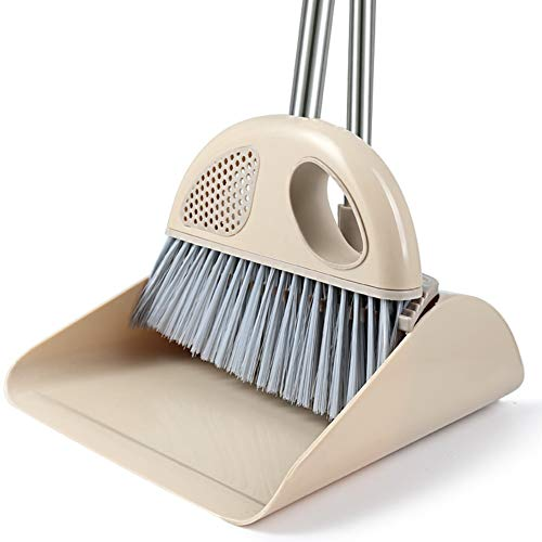 YJFENG Long Handle Dustpan And Brush Sets Rotary Broom Head High Density Plastic Bristles Detachable Cleaning The Room (color : Brown#A, Size : 73x29cm)