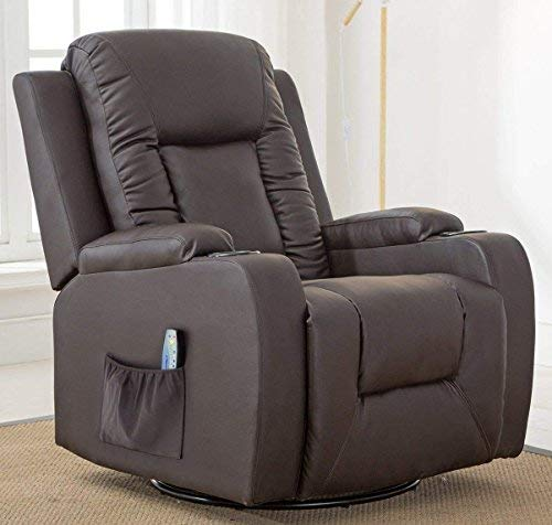 (ComHoma Leather Recliner Chair Modern Rocker with Heated Massage Ergonomic Lounge 360 Degree Swivel Single Sofa Seat with Drink Holders Living Room Chair Brown)