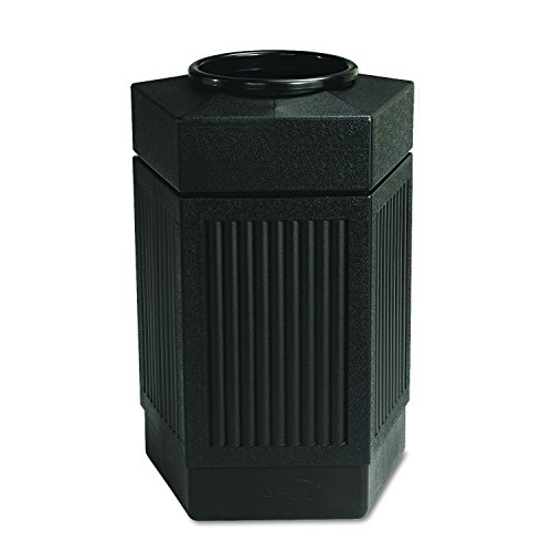 Panels Furniture Office Source - Safco Products Canmeleon Outdoor/Indoor Open Top Pentagon Trash Can 9485BL, Black, Five Fluted Panels, 30-Gallon Capacity