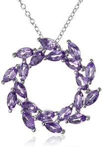 "Sterling Silver Amethyst Leaf Design Circle Pendant Necklace, 18"""